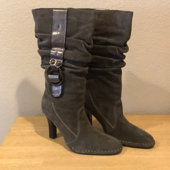 Hot In Hollywood Black Suede Metallic Strap Slouch Heel Boots 8.5 NEW
